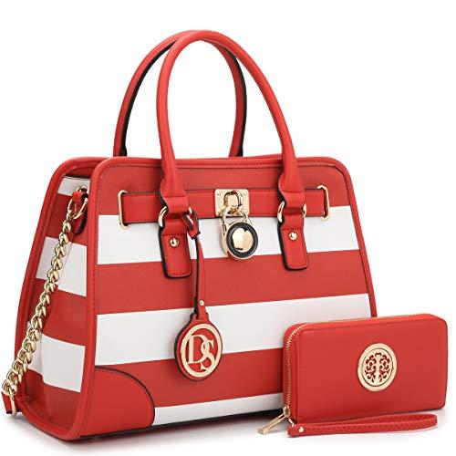 Women Handbags Satchel Purses Top Handle Bag Vegan Leather Work Shoulder Bag (Red/White)