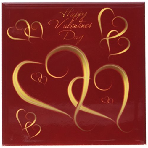 Valentine Tile (3dRose cst_37589_3 Golden Hearts Entwined on a Mottled Red Background with Happy Valentines Day Ceramic Tile Coasters, Set of 4)
