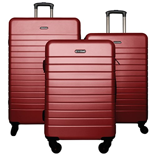 (3 PC Luggage Set Durable Lightweight Spinner Suitecase LUG3 SK0040 RED)