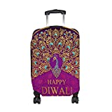 Funny print Happy Diwali Peacock Travel Luggage Cover Suitcase Protector Fits 26-28Inch