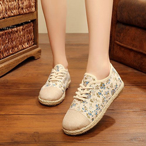Ausom Filles Linge Lin Pastoral Preppy Style Floral Bout Rond Toile Sneakers Chaussures Bleu