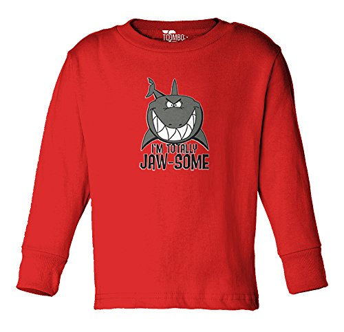 I'm Totally JAW-SOME - SHARK - TODDLER Little Boy Long Sleeve T-shirt (5/6, RED)