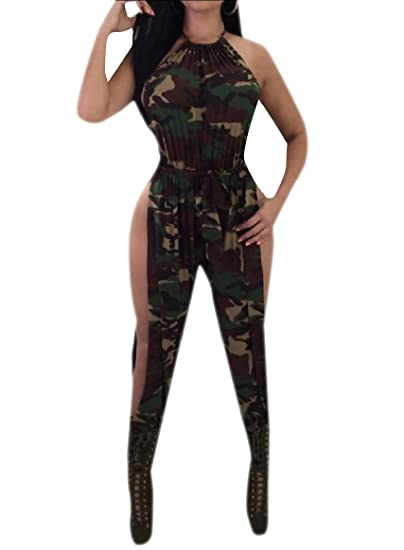 24ab3604d6 YUNY Women Nightclub Style Halter Camo Split Sexy Jumpsuits Romper Army  Green XS