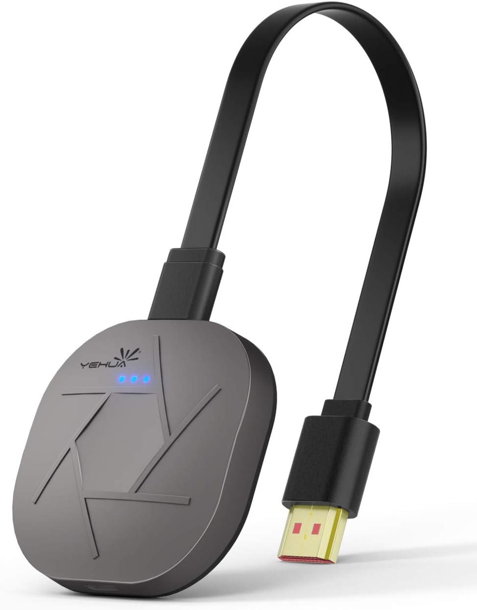 YEHUA 5G/2.4G Miracast HDMI Dongle,Receptor de Pantalla WiFi Soporte Airplay Miracast DLNA para Android/iOS/Windows/MacOS