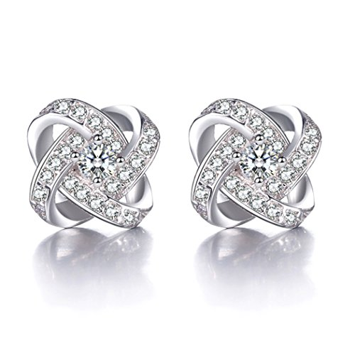 Time Pawnshop Elegant Love Knot Sterling Silver Cubic Zirconia Charm Lady Stud Earrings by Time Pawnshop