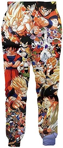 Ocsoc Women//Men Unisex Dragon Ball Z Joggers Sweatpants 3D Anime Print Track Baggy Trousers