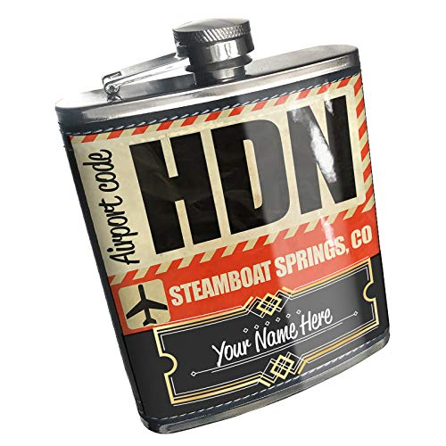 Neonblond Flask Airportcode HDN Steamboat Springs, CO Custom Name Stainless Steel