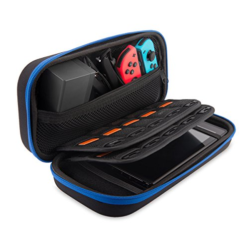 Findway Switch Carry Case Compatible With Nintendo Switch – 20 Game Cartridges Protective Hard Portable Travel Carrying Case Shell Pouch for Nintendo Switch Accessories & Console,Blue For Sale