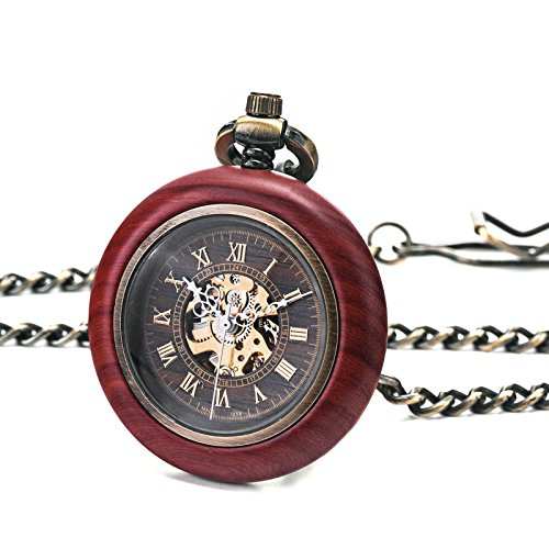 TREEWETO Vintage Wood Automatic Mechanical Pocket Watch for Men Women Steampunk Skeleton Dial with Chain + Gift Box by TREEWETO (Image #4)