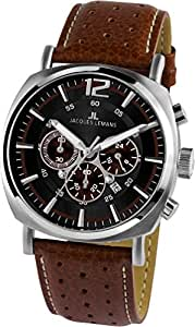 JACQUES LEMANS Lugano 1-1645C - Reloj de caballero de cuarzo, correa de piel color marrón