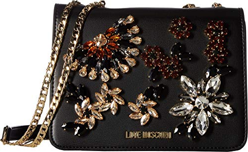 LOVE Moschino Women's Crossbody Bag with Stone Detailing Black One Size (Link Chain Shoulder Bag Black Leather)