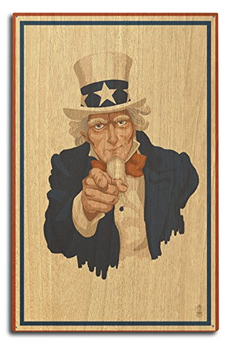 Lantern Press Uncle Sam - Vote (10x15 Wood Wall Sign, Wall Decor Ready to Hang) -