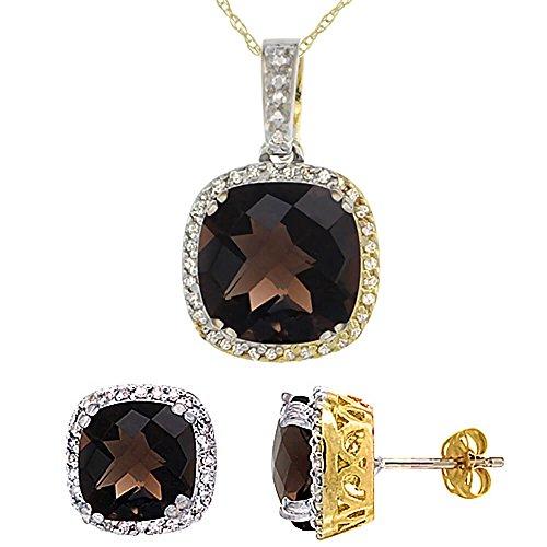 Jewellery World Bague en or jaune 9carats Topaze fumée Boucles d'oreilles et pendentif de coussin Naturel Accents de diamant