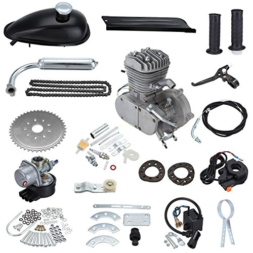 Iglobalbuy 50cc Petrol Gas Motor Bicycle Engine Complete Kit Motorized Bike 2-Stroke (silver)