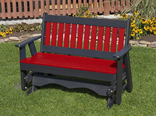 5FT-BRIGHT RED-POLY LUMBER Mission Porch GLIDER Heavy Duty EVERLASTING PolyTuf HDPE – MADE IN USA – AMISH CRAFTED