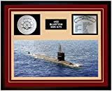 Navy Emporium USS BLUEFISH SSN 675 Framed Navy Ship Display Burgundy