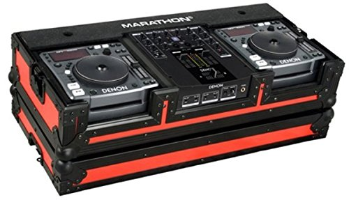 Marathon Flight Road MA-Dnsx1200Blkred Red - Black Series - Coffin Holds 2X Small Format CD Players + 10-Inch Mixers Marathon Professional