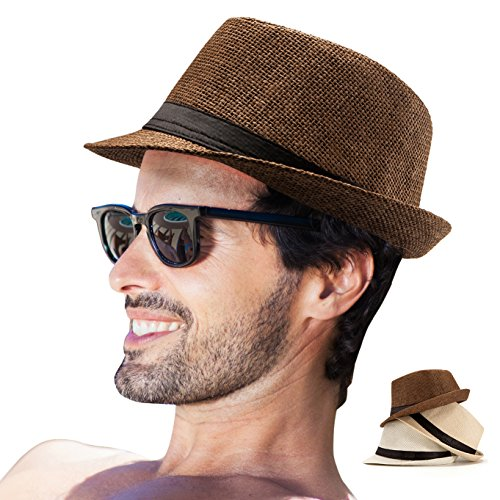 LADYBRO Straw Fedora Hat Women Men Pack 3 Short Brim Sun Hat Summer Beach Hat Jazz Hat (Pack of 3 (White,Beige,Coffee)) by LADYBRO