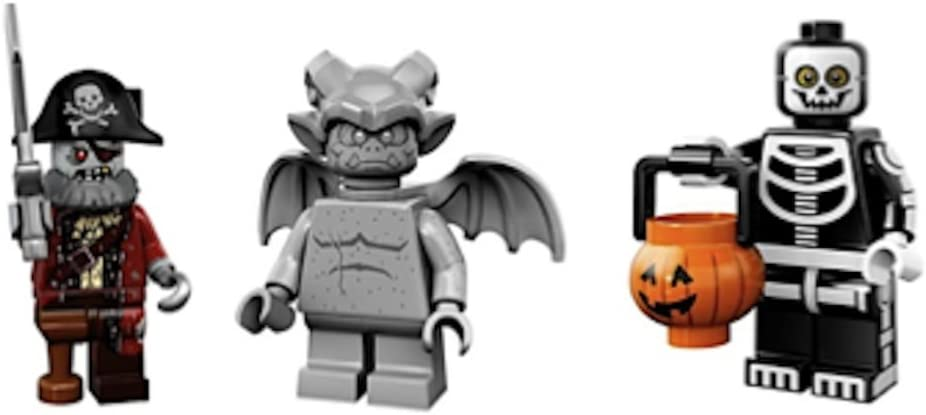 LEGO Gargoyle, Zombie Pirate Captain, Skeleton Trick or Treater Collectible Minifigures Series 14 Monsters, Zombies, Halloween Custom Bundle 71010
