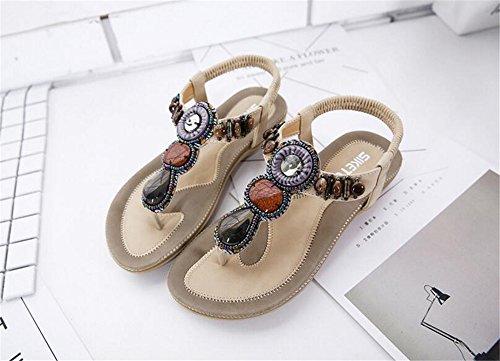 Flops Beige Bohemia flip Summer Flat Shoes Shoes Women pit4tk Sandals Crystal Fashion Sandals Ladies twOfcv