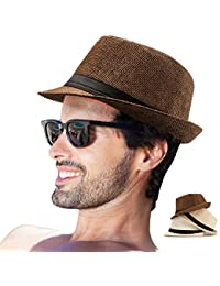 9fb37571514 Mens Fedora Hats for Men - Fedora Hat Panama Hat Straw Hat Trilby Hat  Summer Hat