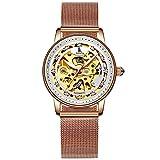 Bestn Women's Self Winding Wristwatches Skeleton Crystal Auto Mechanical Watch Mesh Watch Band