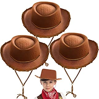 JOYIN Spooktacular Creations Children's Brown Felt Cowboy Hat 3 Pack for Halloween Costume Accessories, Prop, Kits, Dress-up Party, Role Play, Cosplay, Holiday Decorations