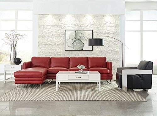 Lazzaro Leather Melbourne Collection WH-1003-32-33-3375 Berry Red Leather RSF Sofa & LSF Chaise