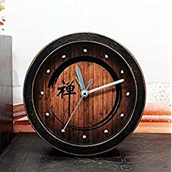 JinRou Retro idyllic China Wind Zen field wood alarm clock laziness desktop agents the time clock Zen meditation old black wood,12cm