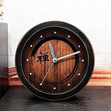 JinRou Retro idyllic China Wind Zen field wood alarm clock laziness desktop agents the time clock Zen meditation old black wood,12cm