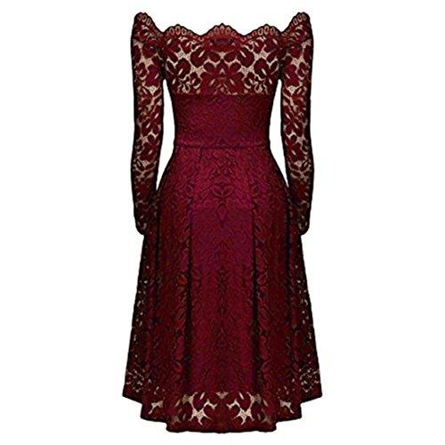 Tefamore Vin Dentelle Femmes Longues Manches de soire Off Robe Formelle paule Du Robe soire Vintage 6Zw6qr
