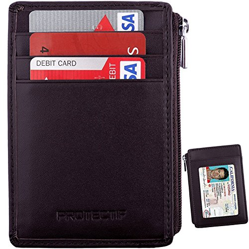Rfid Blocking Secure Mini Wallet & RFID Sleeve Genuine Leather Front Pocket Wallet, Best Protection for your Credit Cards (coffee)