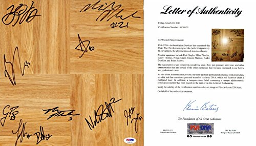 Duke Blue Devils Team Signed - Autographed Floor board signed by 10 Players including Nolan Smith, Kyle Singler, Plumlee - 2009/2010 National Champions - PSA/DNA FULL Letter of Authenticity (COA)