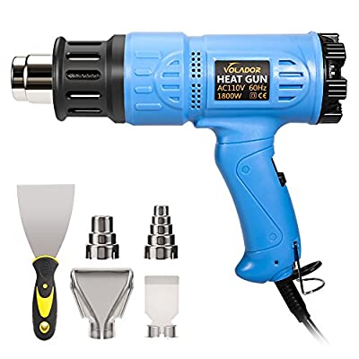VOLADOR Heat Gun 1800W, Hot Air Gun Precision Temperature Control 140?~1202? with Putty Knife and Four Nozzles for Thawing Pipes, Shrinking PVC, Stripping Paint