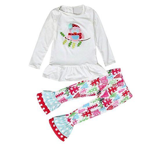 Elevin(TM)Kid Girls Christmas Tree Owl Long Sleeve Shirt Top Blouse+Bell-bottom Pants (2T, White)