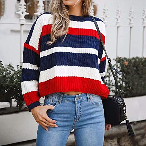 Liraly Sweatshirts For Women New Fashion Women Winter Fashion Long Sleeve Knitted Patchwork Tops Loose Sweater Blouse Shirt Blouses(Red ,US-8 /CN-L) by Liraly (Image #3)