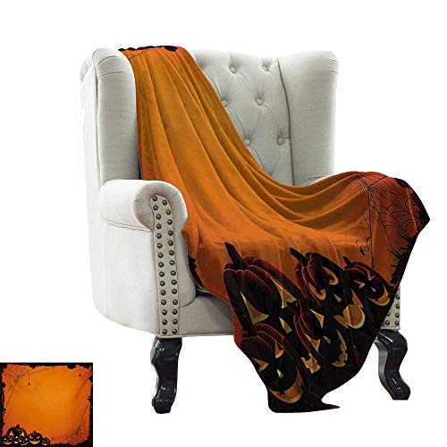 LsWOW Furry Blanket Halloween,Grunge Spider Web Jack o Lanterns Horror Time of Year Trick or Treat Print,Orange Seal Brown Blanket for Sofa Couch TV Bed All Season 60