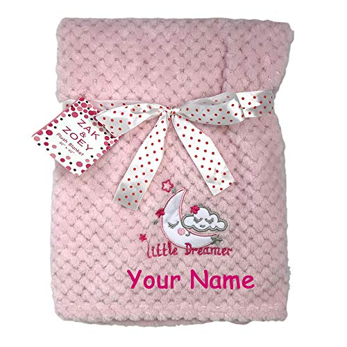 Zak & Zoey Personalized Little Dreamer Sleepy Moon Pink Plush Blanket for Baby Girl with Custom Name - 40 Inches ()