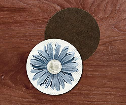 (Blue daisy drink coasters. Set of 4)