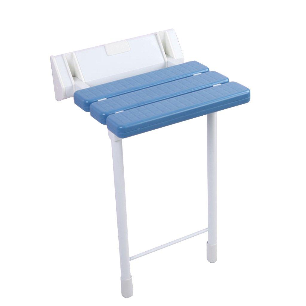 シャワー折りたたみ椅子アイルバスルームシャワーウォールスツールウォールチェア (色 : 青) B07DFDQ9NR  青