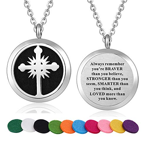 (WPFdesign Stainless Steel Religious Cross Aroma Therapy Aromatherapy Essential Oil Diffuser Necklace Locket Pendant)