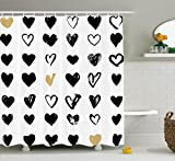 Ambesonne Love Decor Shower Curtain Set, Small Heart Icons Valentine's Theme Stylized Hipster Liking Spouse Couples Design, Bathroom Accessories, 75 Inches Long, Tan Black White