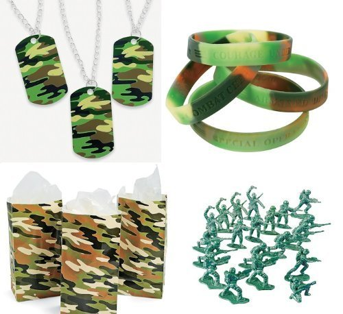 Military Army Party Favors Boy's Camouflage Bracelets Dog Tags Bags Toys 180 Piece Bundle]()