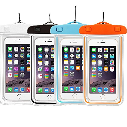"4PACK Waterproof Case Universal CellPhone Dry Bag Pouch CaseHQ for Apple iPhone 6S, 6, 6S Plus, SE, 5S, Samsung Galaxy S7, S6 Note 5 4, HTC LG Sony Nokia Motorola up to 5.7"" diagonal"