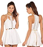 Women Jumpsuits,Solid Lace Sling Rompers Dress Tunic Evening Party Camisole Axchongery (S, White)