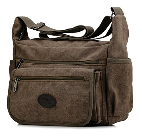 Vintage Style Men's Boys Casual Canvas Shoulder Bag Cross-body Messenger Bag Satchel Schoolbag (Coffee) - 2