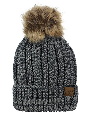 - C.C Thick Cable Knit Faux Fuzzy Fur Pom Fleece Lined Skull Cap Cuff Beanie, Dark Gray/Light Gray Mix