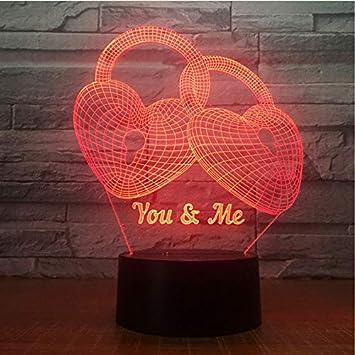 Amazon.com: Love Lock - Lámpara de escritorio de noche 3D ...