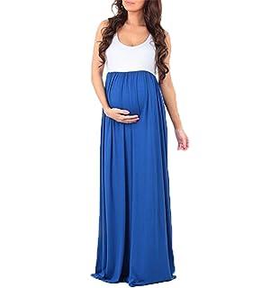 Vestidos Embarazadas Vestido de Maternidad Sin Mangas de Cuello Redondo para Mujer Vestido Largo Sin Mangas