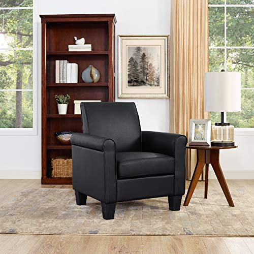 Lohoms Modern Faux Leather Accent Chair Uplostered Living Room Arm Chairs Comfy Single Sofa Chair Black